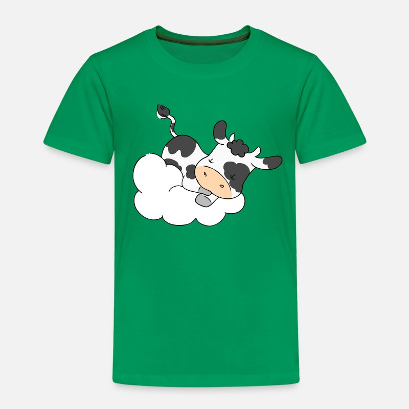 Baby T-Shirts - Cow Sleeping on Cloud - Kids' Premium T-Shirt kelly green