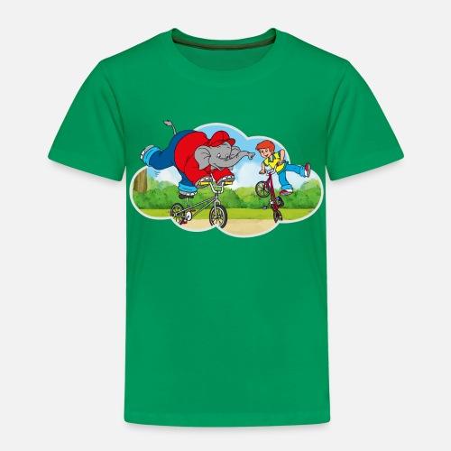 16eb3809216c Benjamin Blümchen fährt BMX-Rad mit Otto Kinder Premium T-Shirt    Spreadshirt