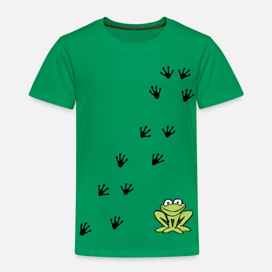 Frosch T-Shirts - Frosch mit Spuren - Kinder Premium T-Shirt Kelly Green
