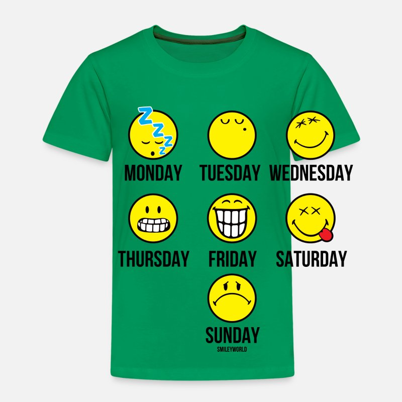 Officialbrands T-Shirts - SmileyWorld Smileys Für Jeden Wochentag - Kinder Premium T-Shirt Kelly Green