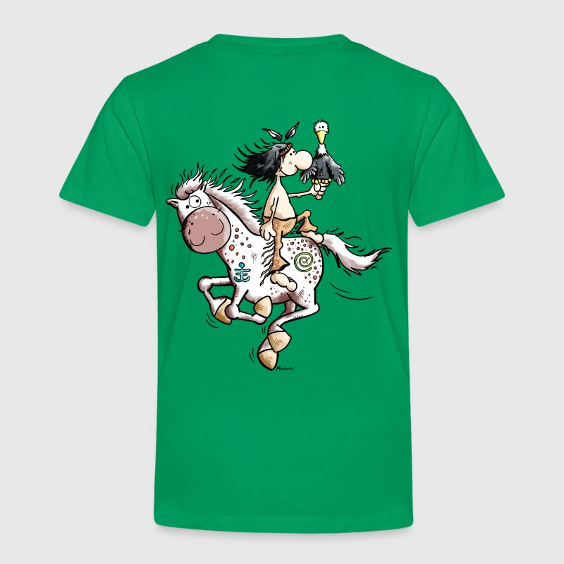 American Indian with wild horse - Kids' Premium T-Shirt
