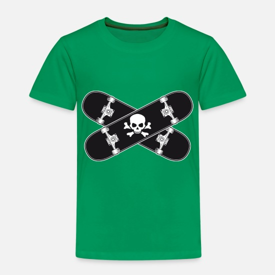 Drapeau Pirate T-shirts - Skate pirate skull skateboard - T-shirt premium Enfant vert