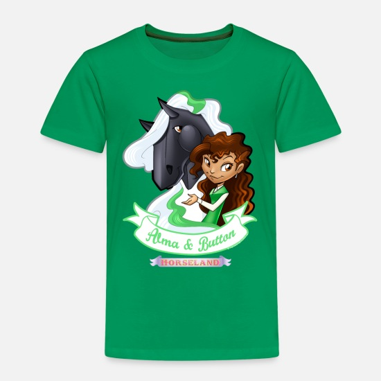Pferde T-Shirts - Horseland Alma & Button - Kinder Premium T-Shirt Kelly Green