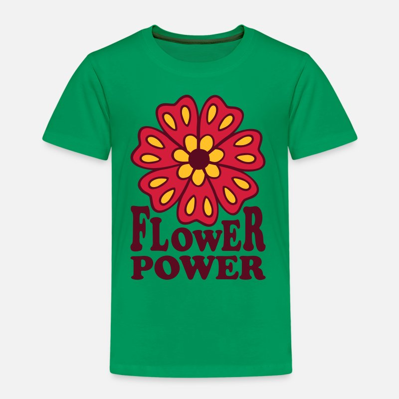 Lente T-Shirts - Flowerpower  bloemen Flower power  - Kinderen premium T-shirt kelly groen