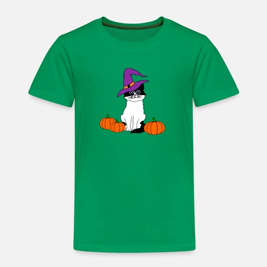 Halloween T-Shirts - Halloween Katze - Kids' Premium T-Shirt kelly green
