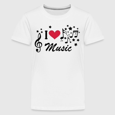 Jeg elsker Musik node G-nøgle I love music  - Teenager premium T-shirt