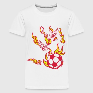fussball feuer flamme hand 1 - Teenager Premium T-Shirt