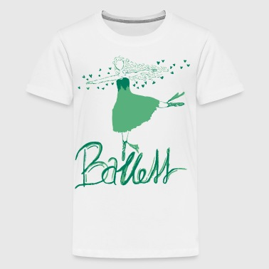 Ballett Dame in grün - Teenager Premium T-Shirt