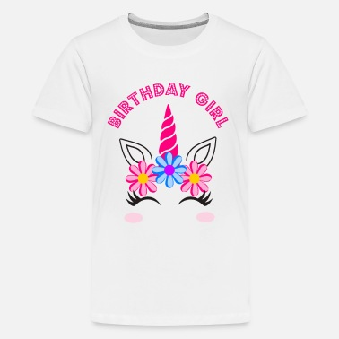 Birthday Girl Birthday Girl - Unicorn Girl Birthday - Maglietta Premium per ragazzi