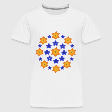 Flowers orange and blue - Teenager premium T-shirt