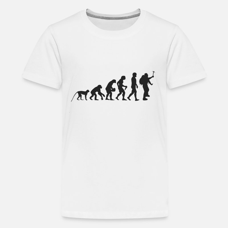 Mountaineer T-Shirts - Evolution Mountaineer - Teenage Premium T-Shirt white