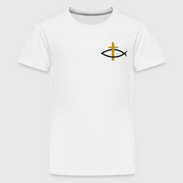Itchys Christianity fish with golden cross - Teenage Premium T-Shirt