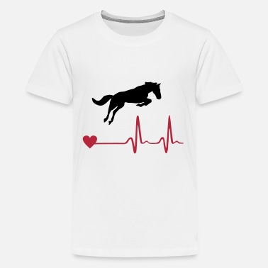 Cheval Cheval - Horse and heartbeat - T-shirt Premium Ado
