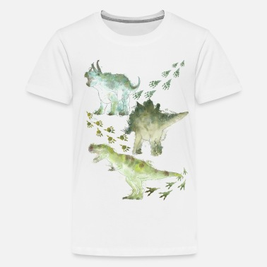 Nature Animal Planet Various Dinosaurs Watercolour - Teenage Premium T-Shirt