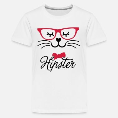 Hipster sweet hipsta hipster glasses kanin bunny ansigt - Teenager premium T-shirt