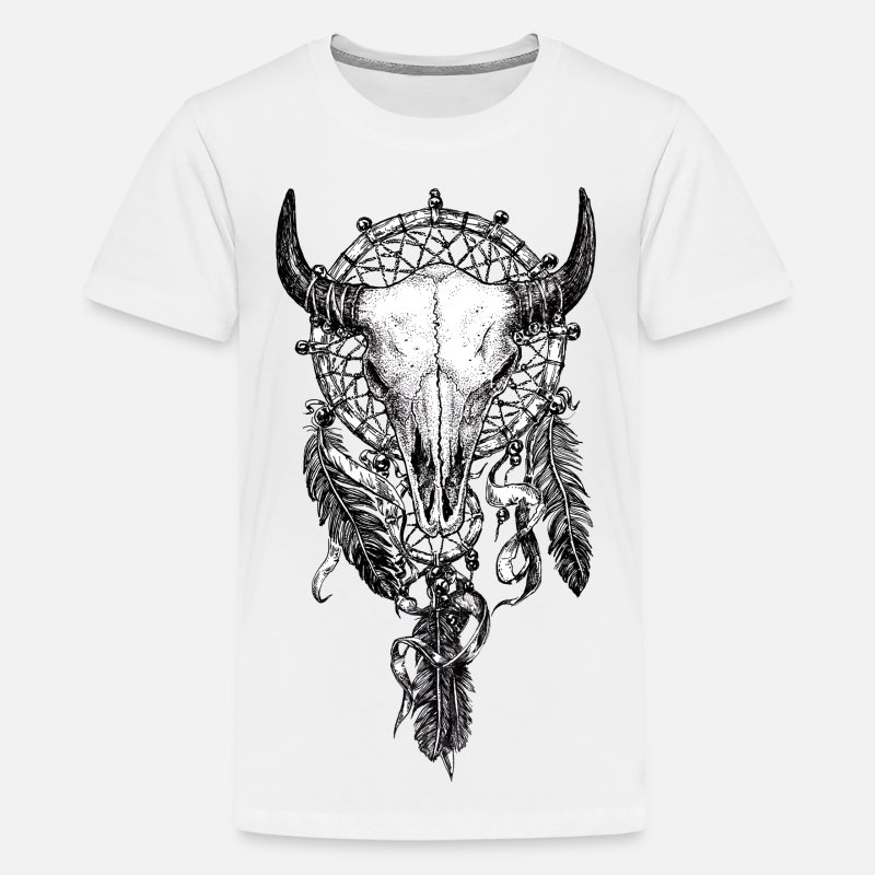 Black T-Shirts - Skull Dreamcatcher Tattoo - Teenage Premium T-Shirt white