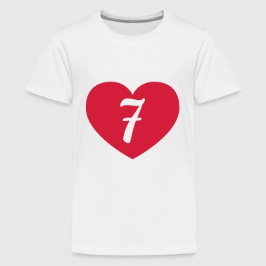 7th birthday heart Long Sleeve Shirts - Teenage Premium T-Shirt