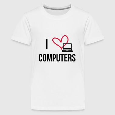I Love Computers - Teinien premium t-paita