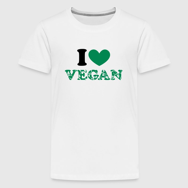 I heart vegan green, animal protection, save earth - Teenage Premium T-Shirt