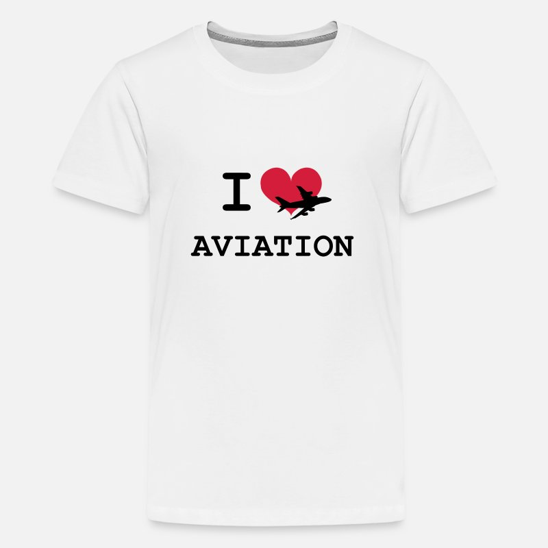 Airplane T-Shirts - I Love Aviation [Pilot] - Teenage Premium T-Shirt white