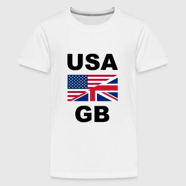 Gb United States GB Graet Britain one Flag Flage in common - Teenage Premium T-Shirt