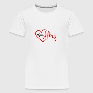 My heart with a heart in red - Teenage Premium T-Shirt
