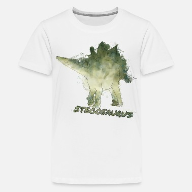 Dino Animal Planet Dinosaurs Stegosaurus Watercolour - Teenage Premium T-Shirt