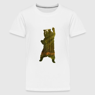 Bear with forest - Teenage Premium T-Shirt