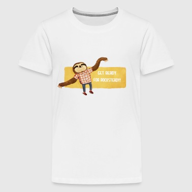 Rocksteady Sloth Buttons - Teenage Premium T-Shirt