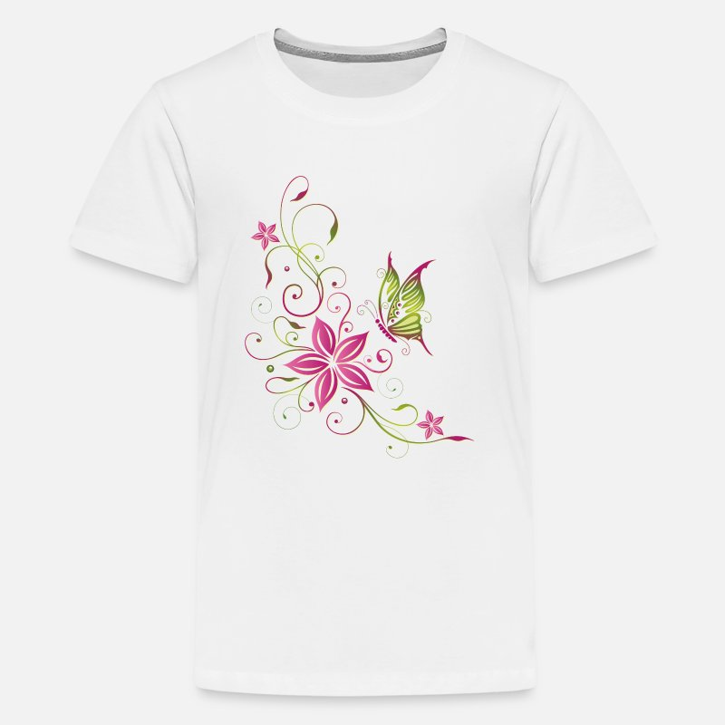Beach T-Shirts - Pink and green flowers with butterfly - Teenage Premium T-Shirt white