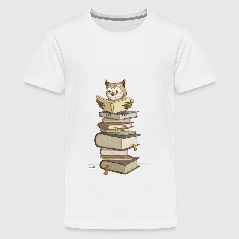 cute owl reading books - Teenage Premium T-Shirt