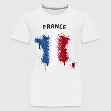 France Text Landkarte Flagge Graffiti - Teenager Premium T-Shirt