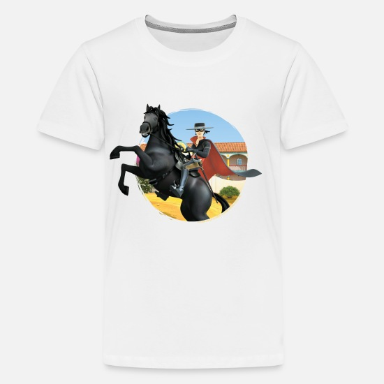 Zorroclassic T-Shirts - Zorro The Chronicles Riding Horse Tornado - Teenage Premium T-Shirt white