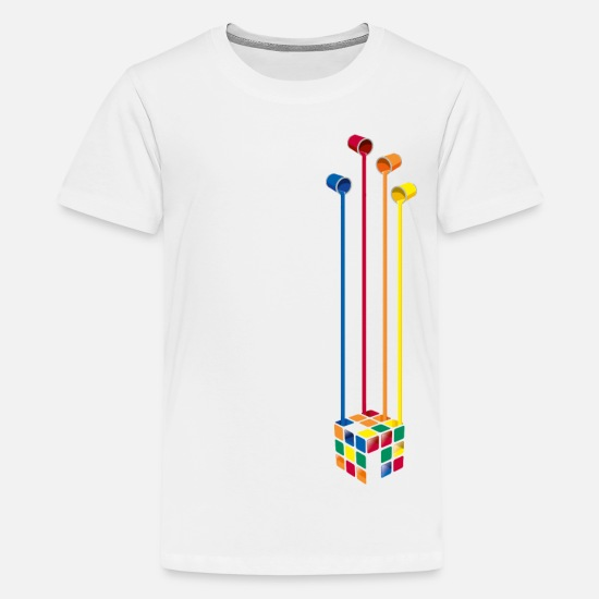 Cube T-Shirts - Rubik's Cube Colourful Paint Buckets - Teenage Premium T-Shirt white