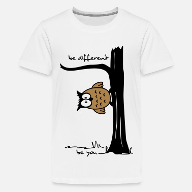 Owl on tree be different, be you - Teenage Premium T-Shirt