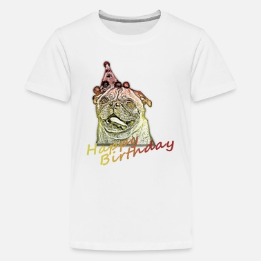 Happy Birthday Pug - Teenage Premium T-Shirt