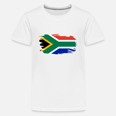 South South Africa Flag Brush Heart Holiday Africa Home - Teenage Premium T-Shirt
