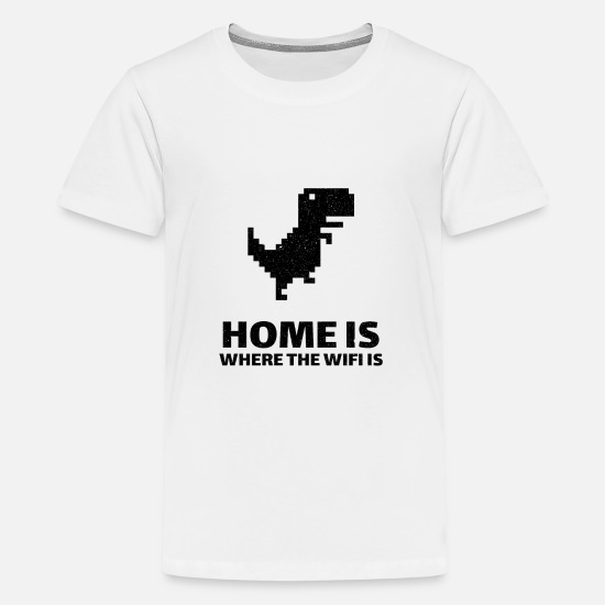 Wireless T-Shirts - Home is where there is internet. Wi-Fi dinosaur - Teenage Premium T-Shirt white
