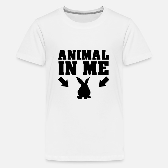 Animalbird T-Shirts - Das Tier in mir Hase - Teenager Premium T-Shirt Weiß