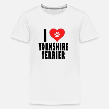 I LOVE YORKSHIRE TERRIER DOGS - Teenage Premium T-Shirt