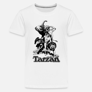 Tarzan with elephant, lion and apes - Teenage Premium T-Shirt