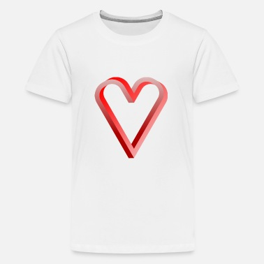 Impossible Heart Optical Illusion Rot - Teenager Premium T-Shirt