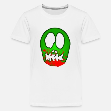 Bloodstain Zombie skull with blood spatter - Teenage Premium T-Shirt