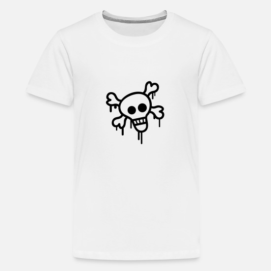 Skeleton T-Shirts - Pirate Skull - Teenage Premium T-Shirt white