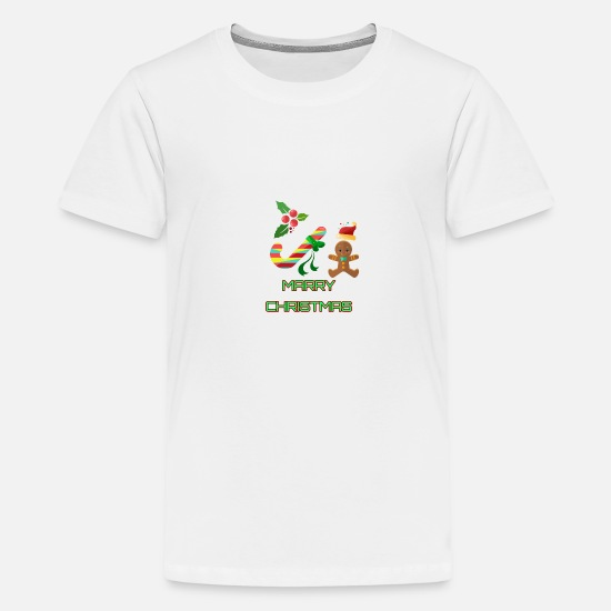 Candy Cane T-Shirts - gingerbread - Teenage Premium T-Shirt white