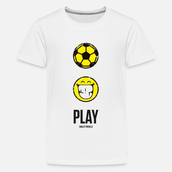 Smiley T-Shirts - SmileyWorld PLAY Football - Teenage Premium T-Shirt white