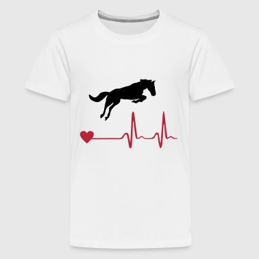 Cheval - Horse and heartbeat - T-shirt Premium Ado