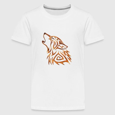 Tribal Wolf Howl Copper Flame - Teenager Premium T-shirt