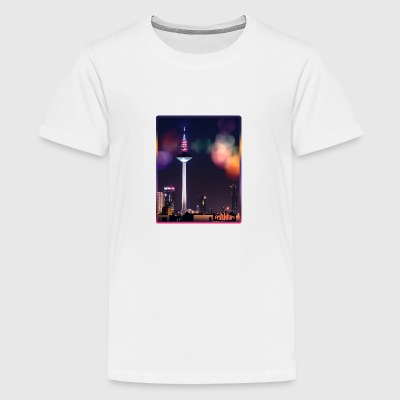 Frankfurt skyline with bokeh - Teenage Premium T-Shirt