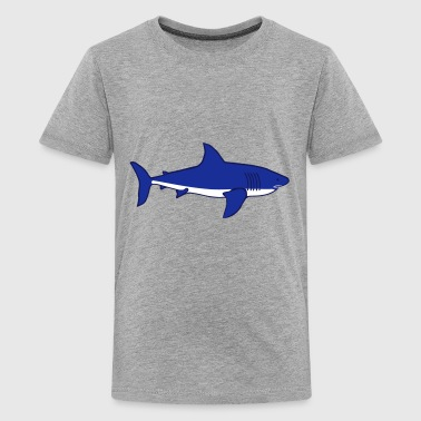 weißer Hai white Shark blau - Teenager Premium T-Shirt